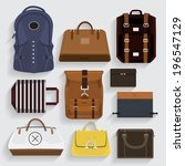 graphic set bags leather  ... | Shutterstock .eps vector #196547129