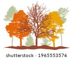 autumn woodland  silhouette of...   Shutterstock .eps vector #1965553576