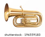 Golden tuba isolated on white...