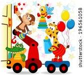 animals visit the newborn baby  ... | Shutterstock .eps vector #196561058