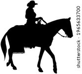 Cowgirl Riding A Horse  Black...