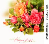 Stock photo bouquet of roses isolated on white 196573406