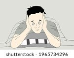 the man with insomnia cannot... | Shutterstock .eps vector #1965734296