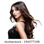 model brunette with long curly... | Shutterstock . vector #196577198