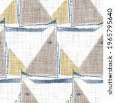 Blue Sailboat Block Print On A...
