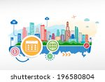calendar sign and cityscape... | Shutterstock .eps vector #196580804