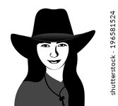 girl in a cowboy hat | Shutterstock .eps vector #196581524