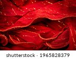 Red Silk Fabric With Lurex....