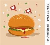 two layer hamburger... | Shutterstock .eps vector #1965837559