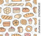 a pattern of baked goods drawn... | Shutterstock .eps vector #1965856810
