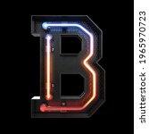 neon light alphabet b with...   Shutterstock . vector #1965970723