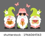 summer gnomes with ice cream ... | Shutterstock .eps vector #1966064563