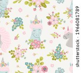 unicorn meadow digital paper ... | Shutterstock .eps vector #1966081789