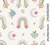 floral rainbow and moon... | Shutterstock .eps vector #1966082083