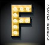 realistic dark lamp alphabet...   Shutterstock .eps vector #196620470