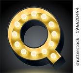 realistic dark lamp alphabet... | Shutterstock .eps vector #196620494