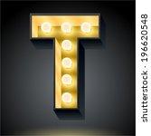 realistic dark lamp alphabet...   Shutterstock .eps vector #196620548