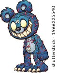 scary blue teddy bear with red... | Shutterstock .eps vector #1966225540
