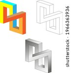 impossible square sign 3d.... | Shutterstock .eps vector #1966363936