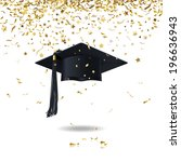 graduate cap and golden confetti | Shutterstock .eps vector #196636943
