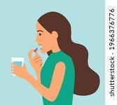 woman taking medicine for... | Shutterstock .eps vector #1966376776
