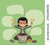 happy girl with laptop   time... | Shutterstock .eps vector #196638440