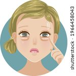 bags under the eyes woman poing ...   Shutterstock .eps vector #1966458043