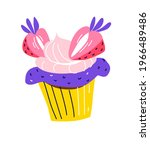 birthday party cupcake cake is... | Shutterstock .eps vector #1966489486