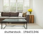 Grey Sofa With Pillows In Front ...