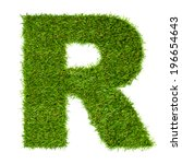 letter r made of green grass... | Shutterstock . vector #196654643