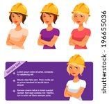 cute cartoon girl with safety...   Shutterstock .eps vector #196655036