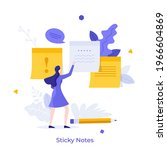 woman attaching paper sticky... | Shutterstock .eps vector #1966604869