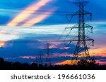 electricity pillars against... | Shutterstock . vector #196661036