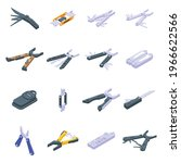 Multitool Icons Set. Isometric...