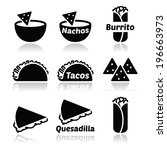 mexican food icons   tacos ... | Shutterstock .eps vector #196663973