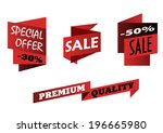 red origami sale icons showing... | Shutterstock .eps vector #196665980