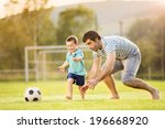 young father with his little... | Shutterstock . vector #196668920