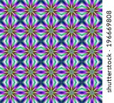 Rainbow Super Nova Tiled / A digital abstract fractal image with a seamless tiled colorful star design in blue, green, pink and yellow. - stock photo