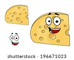 two pieces of cheese with holes ... | Shutterstock .eps vector #196671023