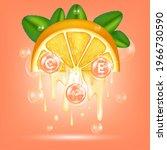 orange oil  drop vitamin    e... | Shutterstock .eps vector #1966730590