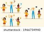group of little pensive girls... | Shutterstock .eps vector #1966734940