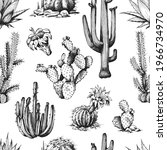 seamless pattern with cactus...   Shutterstock .eps vector #1966734970