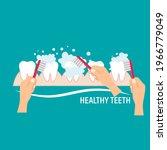 brushing teeth. toothbrush hold ... | Shutterstock .eps vector #1966779049