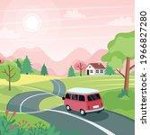 spring road trip. landscape... | Shutterstock .eps vector #1966827280