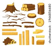wood trunks and planks. raw... | Shutterstock .eps vector #1966856680