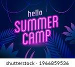 neon pink letter hello summer... | Shutterstock .eps vector #1966859536