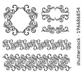 vector set of borders ... | Shutterstock .eps vector #196686854