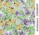 poppies and summer purple ... | Shutterstock . vector #196688039