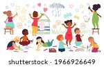 children drawing with crayon.... | Shutterstock .eps vector #1966926649