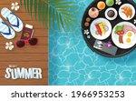 summer breakfast in swimming... | Shutterstock .eps vector #1966953253